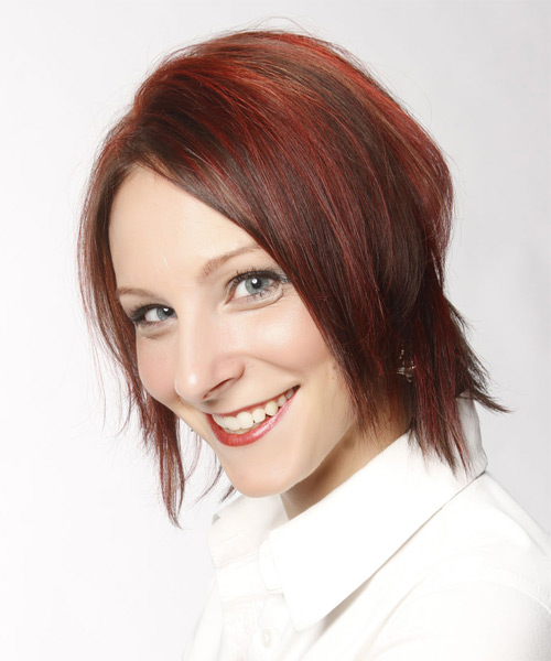 Short Straight Casual    Hairstyle   -  Red Hair Color with Light Red Highlights - Side on View
