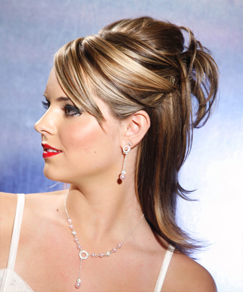 Long Straight Casual   Half Up Hairstyle   - Medium Brunette Hair Color with Light Blonde Highlights - Side on View