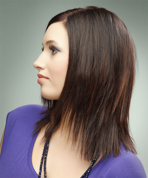 Medium Straight   Dark Burgundy Brunette   Hairstyle   - Side on View