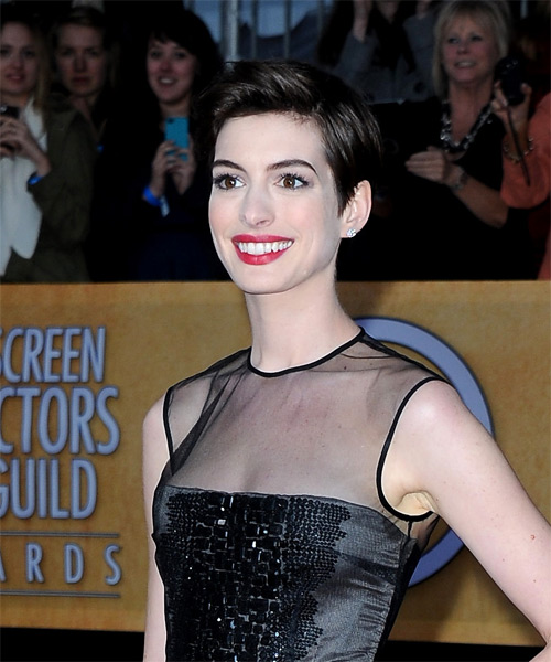 Anne Hathaway Short Straight Casual    Hairstyle   - Dark Mocha Brunette Hair Color - Side on View