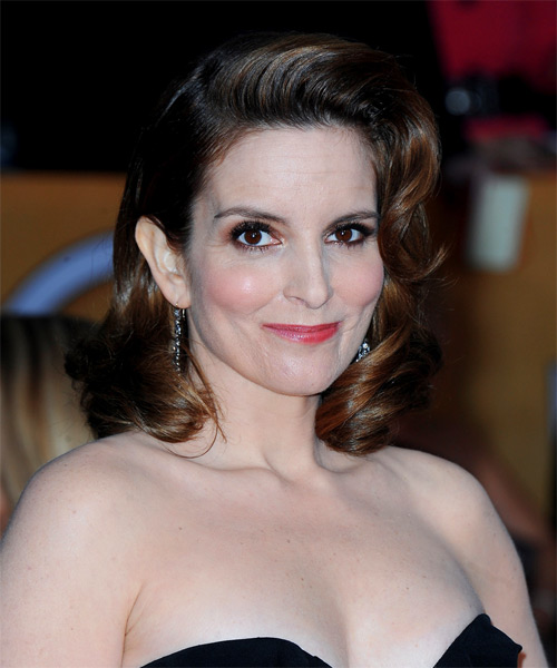 Tina Fey Medium Wavy Formal   Hairstyle   - Side on View