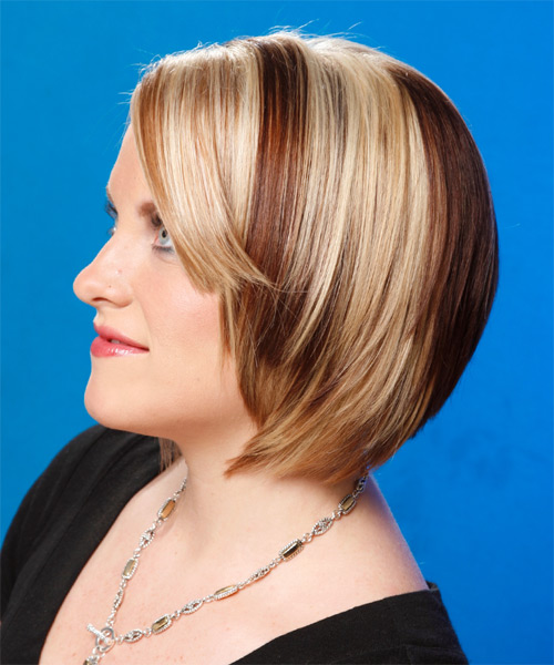 Medium Straight Formal Bob  Hairstyle   - Light Blonde - Side on View