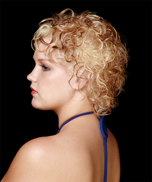 Short Curly Formal   Hairstyle   - Light Blonde (Copper) - Side on View