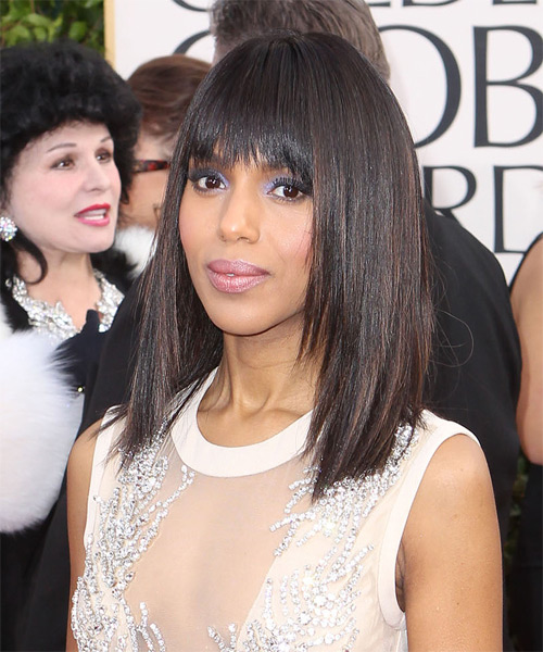 Kerry Washington Medium Straight Formal   Hairstyle with Layered Bangs  - Black - Side on View
