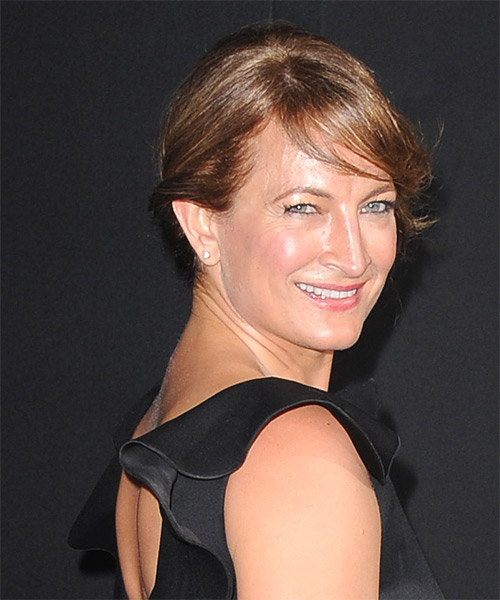 Zoe Bell Updo Long Straight Formal Wedding Updo Hairstyle with Side Swept Bangs  - Medium Brunette (Caramel) - Side on View