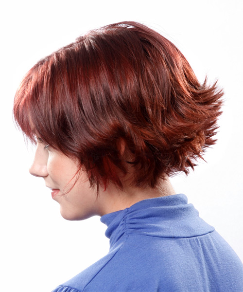 Medium Straight Formal    Hairstyle with Razor Cut Bangs  - Medium Red Hair Color - Side on View