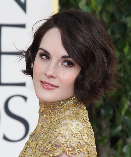 Michelle Dockery Short Straight Casual    Hairstyle   - Dark Mocha Brunette Hair Color - Side on View