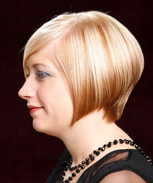 Short Straight Formal Bob  Hairstyle with Side Swept Bangs  - Light Blonde (Golden) - Side on View