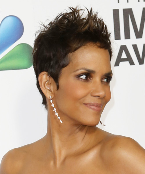 Halle Berry Short Straight Casual    Hairstyle   - Dark Brunette Hair Color with Light Brunette Highlights - Side on View