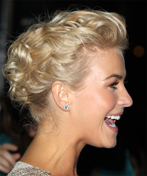 Julianne Hough  Long Curly   Light Golden Blonde  Updo    with Light Blonde Highlights - Side on View