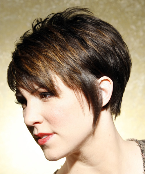 Short Straight Casual   Hairstyle   - Dark Brunette (Ash) - Side on View