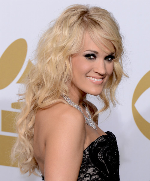 Carrie Underwood Long Wavy Casual    Hairstyle with Side Swept Bangs  - Light Blonde Hair Color - Side on View