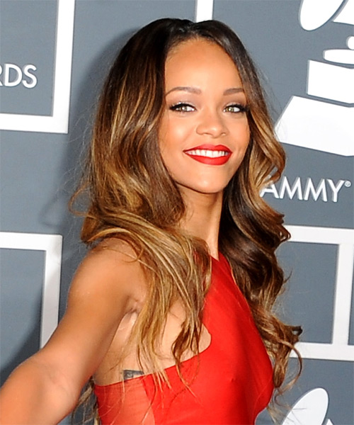 Rihanna Long Wavy Formal    Hairstyle   - Dark Caramel Brunette and  Brunette Two-Tone Hair Color - Side on View