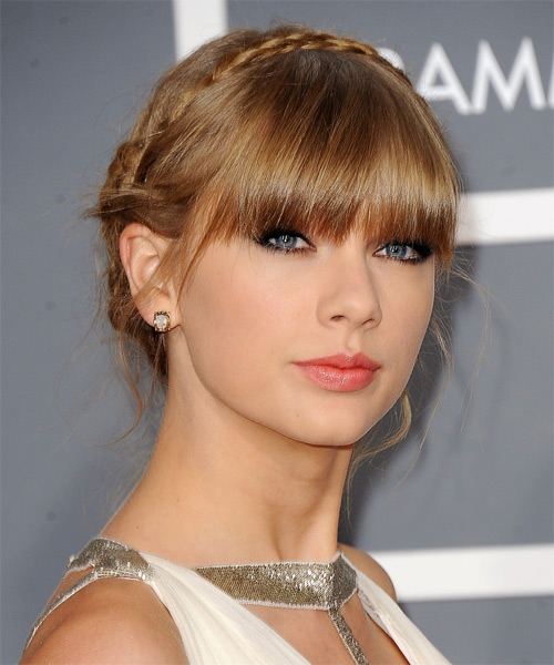 Taylor Swift  Long Straight Formal  Braided Updo Hairstyle with Blunt Cut Bangs  - Dark Golden Blonde Hair Color - Side on View