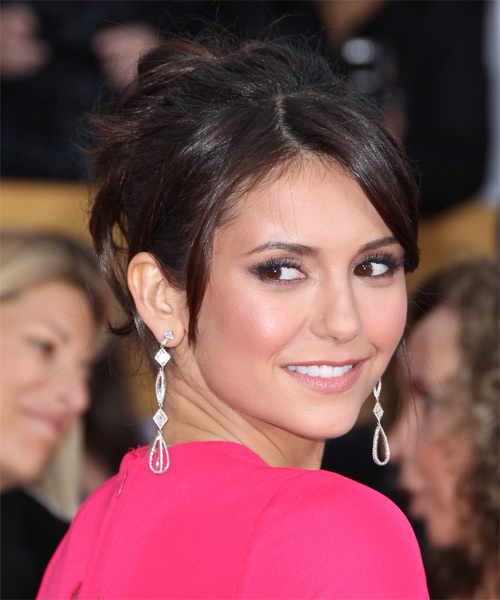 Nina Dobrev Updo Long Straight Formal Wedding Updo Hairstyle with Side Swept Bangs  - Dark Brunette - Side on View