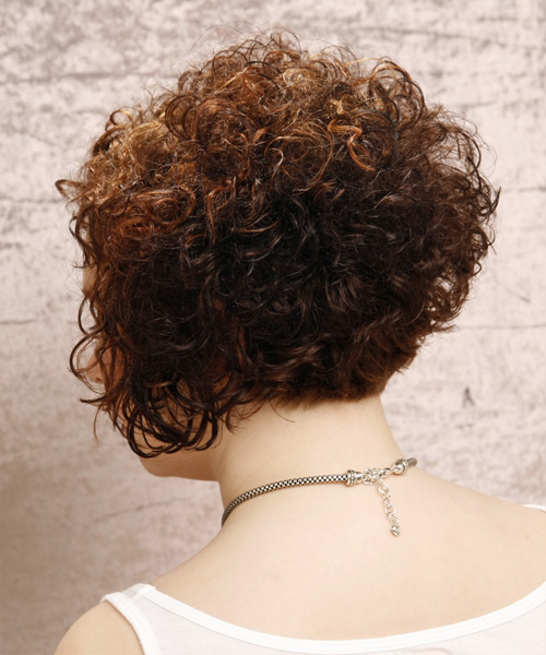 Short Curly Formal   Hairstyle   - Dark Brunette (Auburn) - Side on View