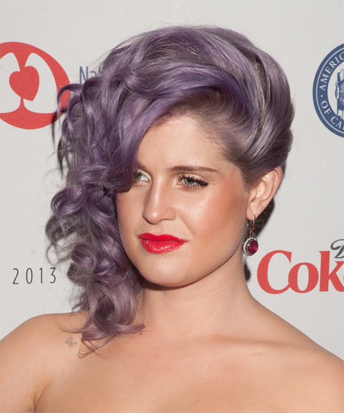 Kelly Osbourne  Medium Curly Formal   Updo Hairstyle   - Purple  Hair Color - Side on View