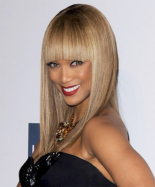Tyra Banks Long Straight Formal    Hairstyle with Blunt Cut Bangs  - Light Caramel Brunette Hair Color with Medium Blonde Highlights - Side on View