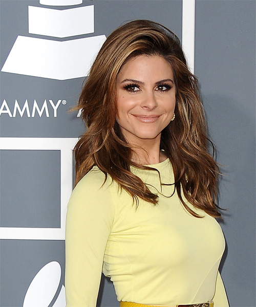 Maria Menounos Long Straight Casual   Hairstyle   - Dark Brunette - Side on View