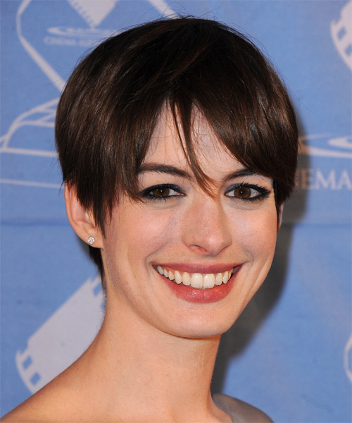 Anne Hathaway Short Straight Casual   Hairstyle with Layered Bangs  - Dark Brunette - Side on View