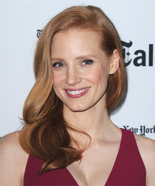 Jessica Chastain Long Straight    Copper Red   Hairstyle   - Side on View