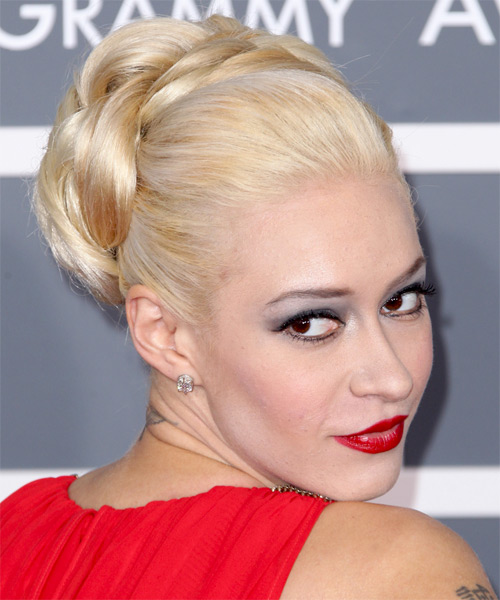 Updo Long Straight Formal Updo  - Light Blonde - Side on View