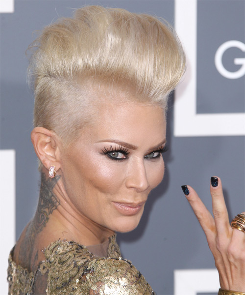 Jenna Jameson Short Straight Alternative    Hairstyle   - Light Platinum Blonde Hair Color - Side on View