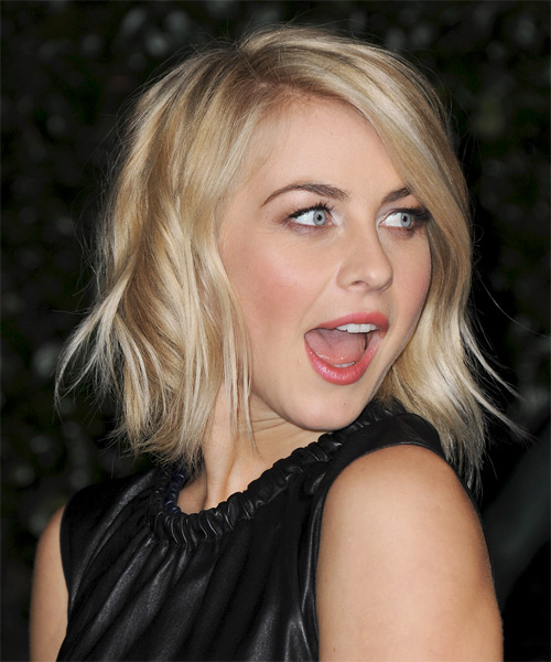Julianne Hough Medium Straight    Golden Blonde   Hairstyle   with Light Blonde Highlights - Side on View
