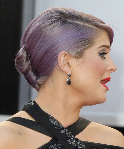 Kelly Osbourne Updo Medium Straight Formal Wedding Updo Hairstyle   - Purple - Side on View
