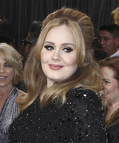 Adele  Long Straight Casual   Half Up Hairstyle   - Dark Chestnut Blonde Hair Color with Light Blonde Highlights - Side on View