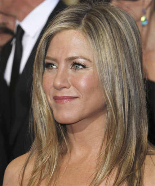 Jennifer Aniston Long Straight    Ash Blonde   Hairstyle   with Light Blonde Highlights - Side on View