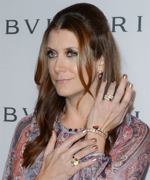 Kate Walsh  Long Straight Casual   Half Up Hairstyle   - Light Brunette Hair Color - Side on View