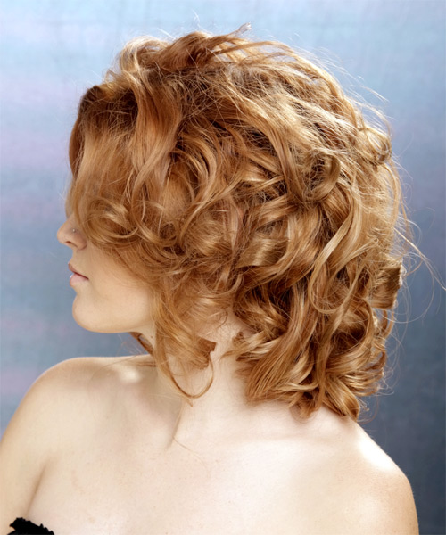 Medium Curly   Light Auburn Brunette   Hairstyle   with Light Blonde Highlights - Side on View