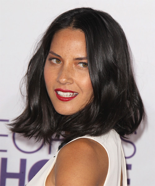 Olivia Munn Medium Straight Casual Bob  Hairstyle   - Dark Brunette - Side on View
