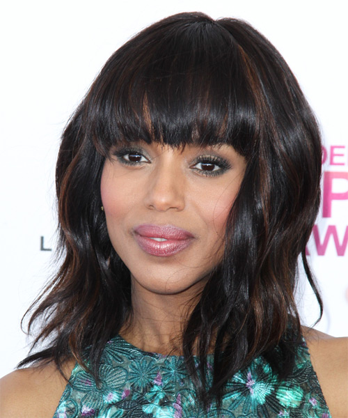 Kerry Washington Medium Wavy Casual   Hairstyle with Blunt Cut Bangs  - Dark Brunette - Side on View