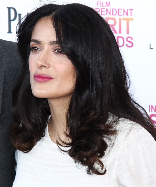 Salma Hayek Medium Straight Formal   Hairstyle   - Dark Brunette - Side on View
