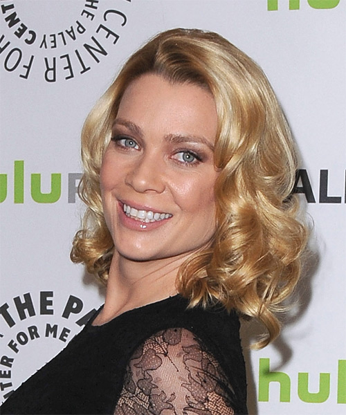 Laurie Holden Medium Curly Formal   Hairstyle   - Side on View