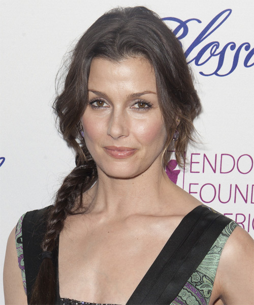 Bridget Moynahan  Long Straight    Brunette Braided Updo    - Side on View