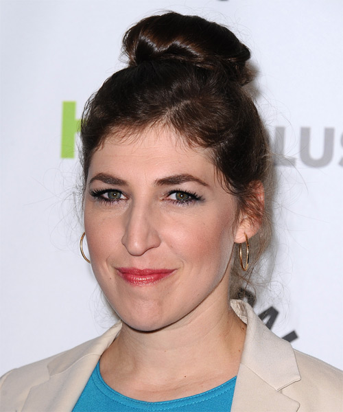 Mayim Bialik  Long Straight   Dark Brunette  Updo    - Side on View
