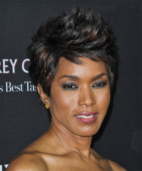 Angela Bassett Short Straight Casual   Hairstyle   - Black - Side on View
