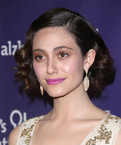 Emmy Rossum Short Wavy Formal   Hairstyle   - Side on View