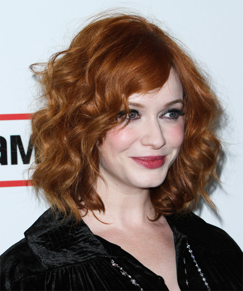 Christina Hendricks Medium Wavy Casual   Hairstyle   - Medium Red (Ginger) - Side on View