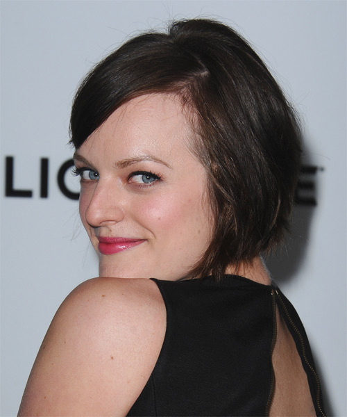 Elisabeth Moss Short Straight Casual    Hairstyle with Side Swept Bangs  - Dark Brunette Hair Color - Side on View
