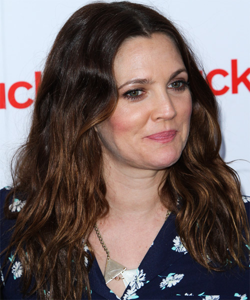 Drew Barrymore Long Wavy Casual   Hairstyle   - Dark Brunette - Side on View