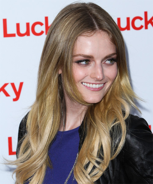 Lydia Hearst Long Straight Casual   Hairstyle   - Medium Blonde (Ash) - Side on View