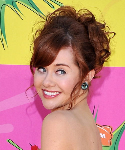 Haley Strode Updo Long Curly Formal Wedding Updo Hairstyle with Side Swept Bangs  - Medium Red - Side on View