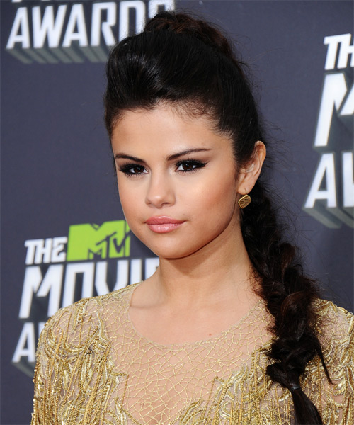 Selena Gomez Updo Long Straight Formal Braided Updo Hairstyle   - Side on View