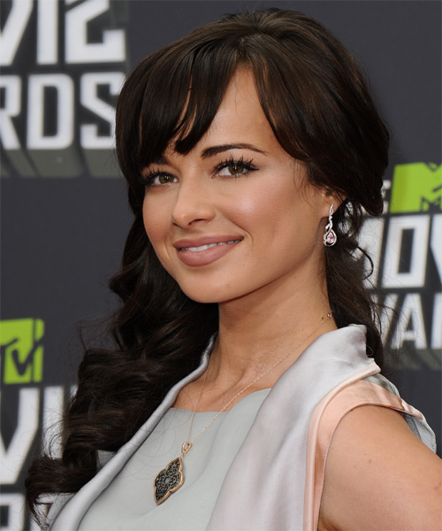 Ashley Rickards Long Wavy Formal   Hairstyle with Side Swept Bangs  - Dark Brunette - Side on View