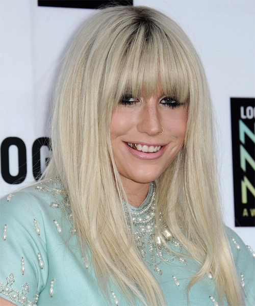 Kesha Long Straight Casual   Hairstyle with Blunt Cut Bangs  - Light Blonde (Platinum) - Side on View