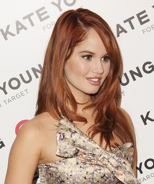Debby Ryan Long Straight Formal   Hairstyle   - Medium Red (Copper) - Side on View